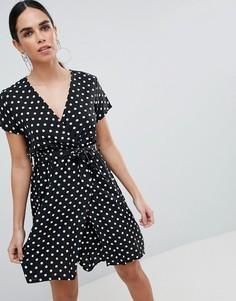 Платье в горошек Love - Черный