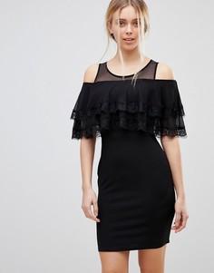Платье мини с открытыми плечами и оборкой Girls on Film - Черный