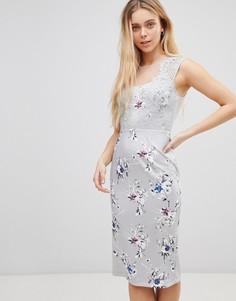 Платье миди с кружевным топом и цветочным принтом Girls on Film - Мульти