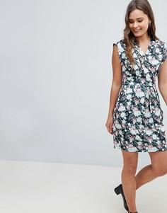 Платье-тюльпан с цветочным принтом QED London - Черный