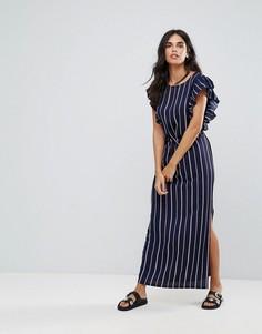 Платье макси в полоску с оборками на рукавах ASOS - Темно-синий Liquorish