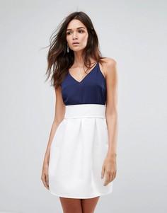 Приталенное платье с контрастной юбкой Ax Paris - Мульти