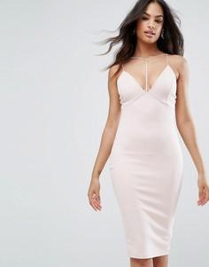 Облегающее платье миди с глубоким вырезом Ax Paris - Розовый