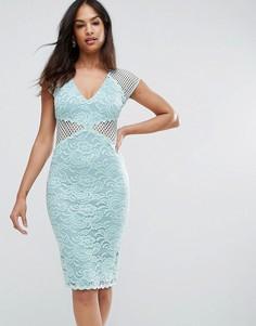 Облегающее платье миди из кружева и сетки с V-образным вырезом Ax Paris - Зеленый