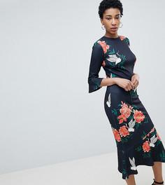 Платье с цветочным принтом, оборками на рукавах и баской True Violet Tall - Темно-синий