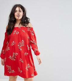 Свободное платье с цветочным принтом AX Paris plus - Красный