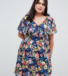 Короткое приталенное платье с принтом Lovedrobe - Мульти