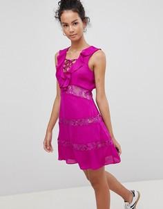 Платье со шнуровкой и оборками Glamorous - Фиолетовый