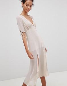 Чайное платье миди с разрезами Glamorous - Розовый