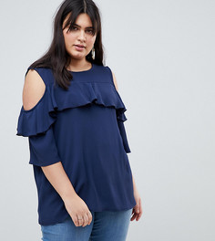 Блузка с вырезами на плечах и оборками Lovedrobe - Темно-синий