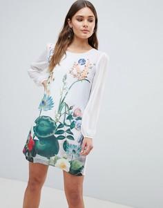 Платье-туника с принтом Yumi - Белый