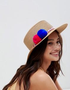 Летняя соломенная шляпа с отделкой помпонами Liquorish - Кремовый