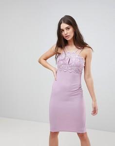 Облегающее платье с двойными бретельками и кружевом Ax Paris - Фиолетовый