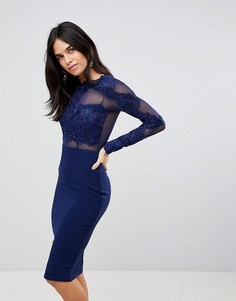 Облегающее платье с длинными рукавами и аппликацией AX Paris - Темно-синий