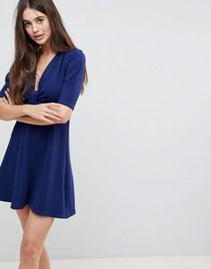 Платье с запахом и рукавами 3/4 Ax Paris - Темно-синий
