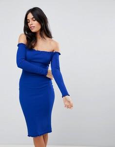 Облегающее платье миди с оборками Ax Paris - Синий