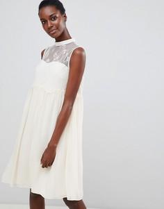 Свободное платье с кружевными вставками Vila - Белый