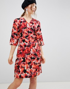 Платье с запахом и цветочным принтом mByM - Красный