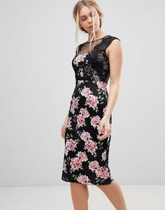 Платье миди с кружевом и цветочным принтом Girls on Film - Черный