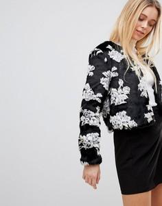 Пальто с отделкой из искусственного меха Girls On Film - Черный