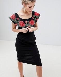 Платье-футляр миди с вышитыми розами Traffic People - Черный