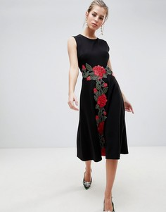 Платье миди с вышивкой Traffic People - Черный