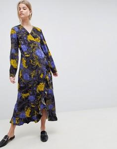 Платье миди с запахом и принтом Selected Sonja - Синий