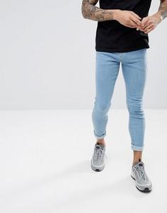 Светлые укороченные джинсы обтягивающего кроя Hoxton Denim - Синий