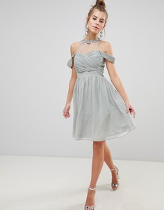 Шифоновое платье для выпускного с цветочной аппликацией и отделкой искусственным жемчугом Little Mistress - Мульти