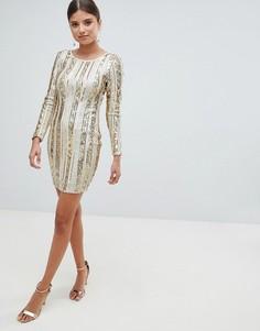 Платье мини с открытой спиной и пайетками Girl In Mind - Золотой