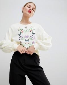 Свитшот с вышивкой Vero Moda - Кремовый
