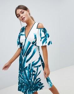 А-образное платье с тропическим принтом Closet - Мульти