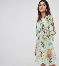 Чайное платье с разрезами на рукавах и цветочным принтом Influence Tall - Зеленый