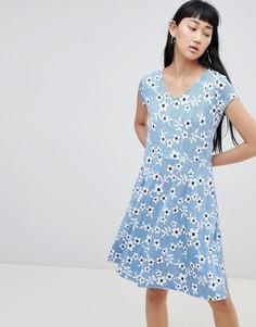 Платье-футболка с цветочным принтом b.Young - Мульти