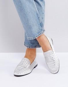 Туфли на плоской подошве с отделкой заклепками Qupid - Серый