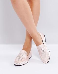 Туфли на плоской подошве с отделкой заклепками Qupid - Бежевый