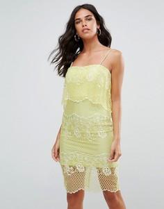 Кружевное платье с отделкой 2 в 1 Forever Unique - Зеленый