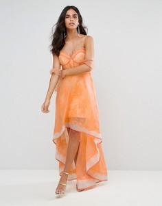 Структурированное кружевное платье с асимметричным подолом Forever Unique - Оранжевый