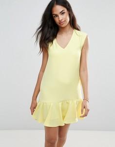 Платье с оборкой по нижнему краю FRNCH - Желтый