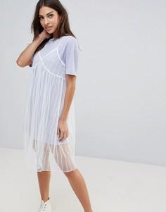 Сетчатое платье-комбинация с футболкой The English Factory - Фиолетовый