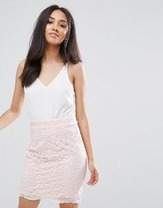 Кремовое ажурное платье мини 2 в 1 Ax Paris - Мульти