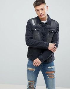 Выбеленная черная джинсовая куртка с рваной отделкой Hoxton Denim - Черный