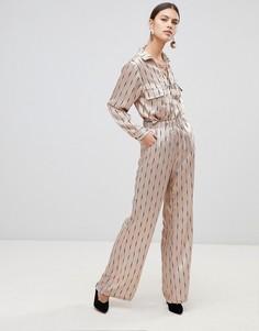 Широкие брюки с принтом и добавлением шелка None The Richer Stevie - Бежевый