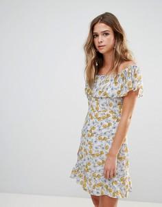 Платье с открытыми плечами и цветочным принтом Goldie - Мульти