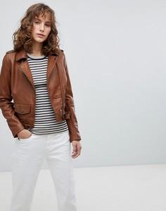 Кожаная байкерская куртка с маленьким карманом спереди Barneys Originals - Коричневый