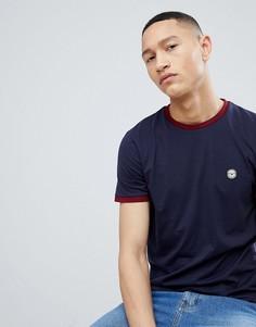 Обтягивающая футболка в рубчик Le Breve - Темно-синий