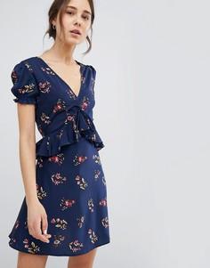 Чайное платье с цветочным принтом и оборкой Influence - Темно-синий
