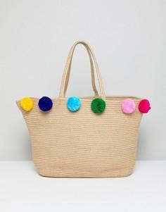 Пляжная сумка-мешок из джута с разноцветными помпонами America & Beyond - Мульти