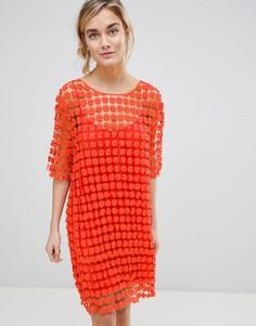 Платье из кружева кроше с цветочным узором See U Soon - Оранжевый