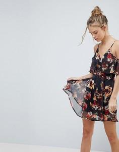 Шифоновое платье с цветочным принтом и вырезами на плечах AX Paris - Черный